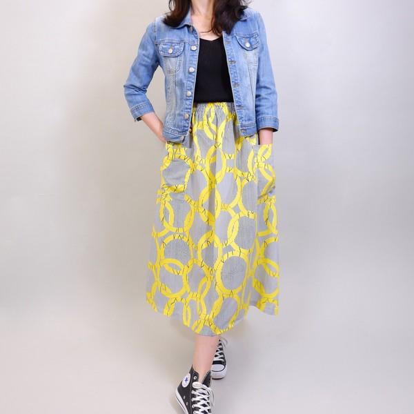 細直紋幾何圓長裙-亮黃 Lalajuly