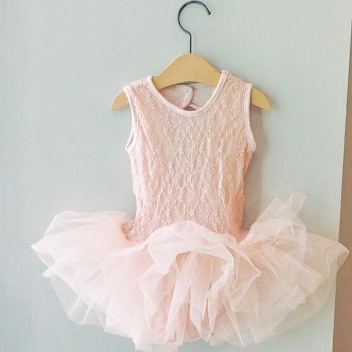 girlmonster 韓國童裝系列 無袖蕾絲芭蕾舞衣蓬蓬裙(粉紅 灰色)【LKA002】