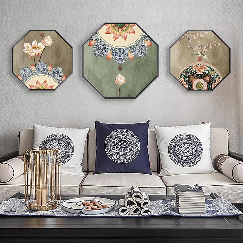 天天特價八邊形組合花鳥裝飾畫新中式古風過道背景壁畫客廳掛畫禪意床頭畫