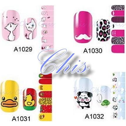 Chis Store fn歐美卡通可愛貓咪 小鴨 熊熊 翹鬍子 豹紋 造型指甲貼紙 美甲指甲油貼花 彩繪指甲果凍指甲貼片