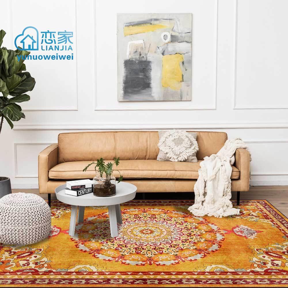 【戀家一慢生活家居】時尚復古輕奢金黃色花卉民族風客廳臥室床邊地毯地墊定制