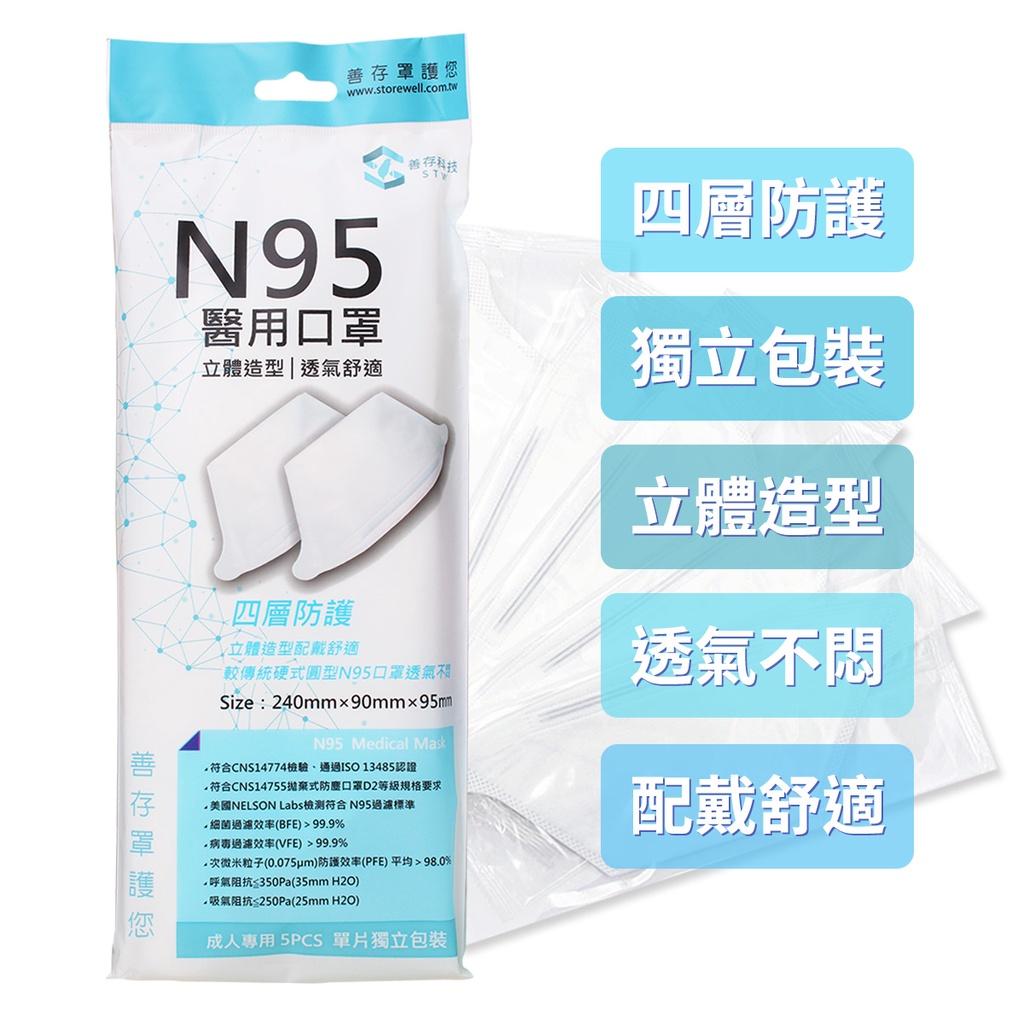 STW 善存 N95 醫用防護口罩 5入/包 醫療級口罩 立體口罩