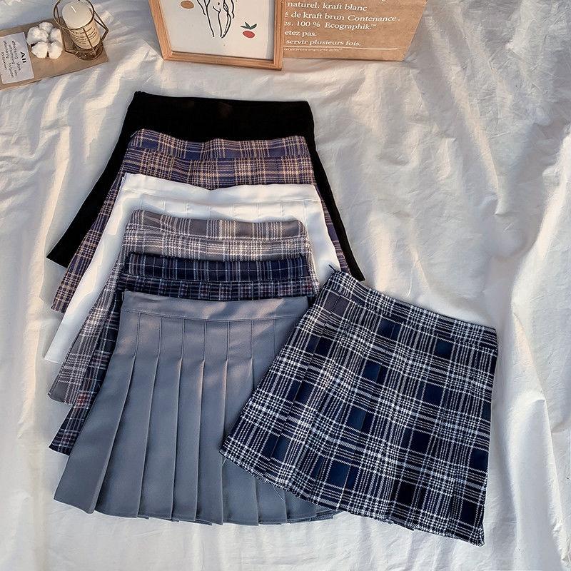 高腰格子百褶裙 238148學院風半身裙A字小短裙女