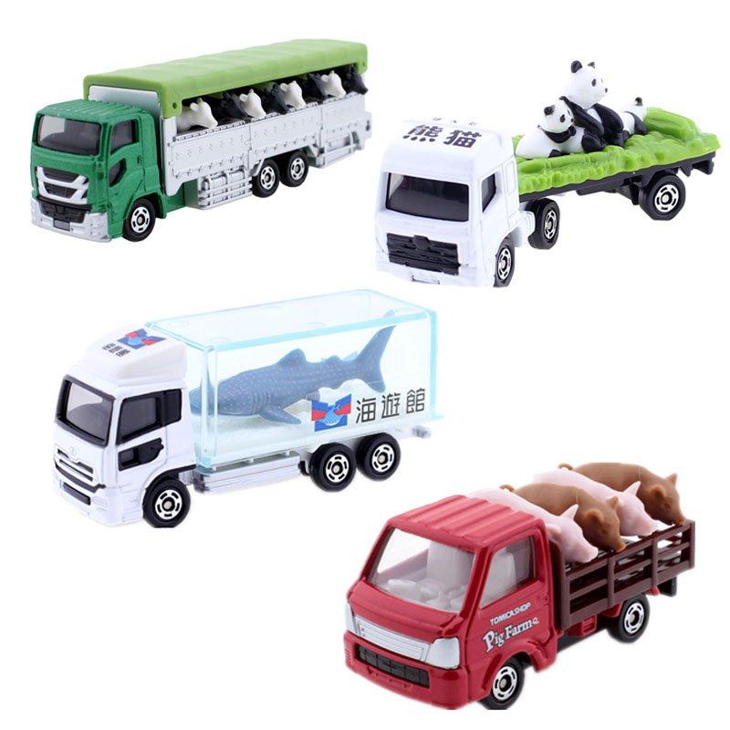 總動員TOMY多美卡tomica合金車模型男孩玩具大熊貓鯊魚運牛絕版運豬車