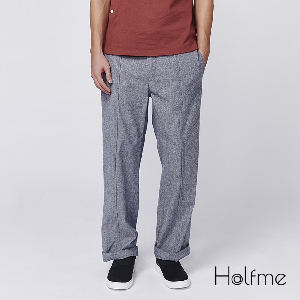 Halfme 壓線直筒長褲 - 男