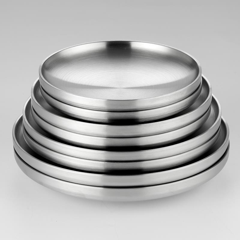 餐韓版板 8 套 304 不銹鋼雙層板保溫餐盤家用圓盤平板