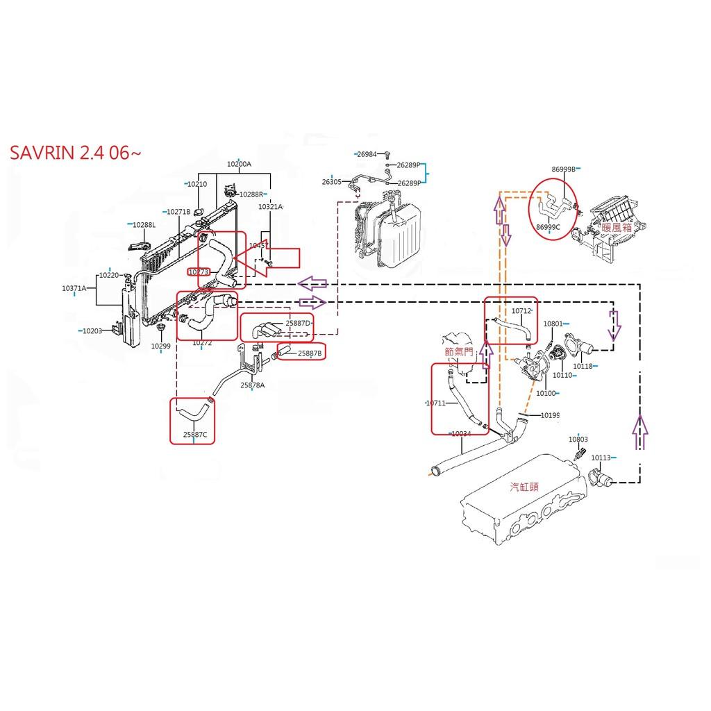 SAVRIN 2.4 暖風箱熱水管 2006年~2015年 中華三菱汽車正廠