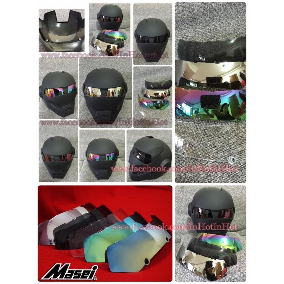 Masei M-610 鋼鐵人造型DOT安全認摩托車安全帽(消光黑色)