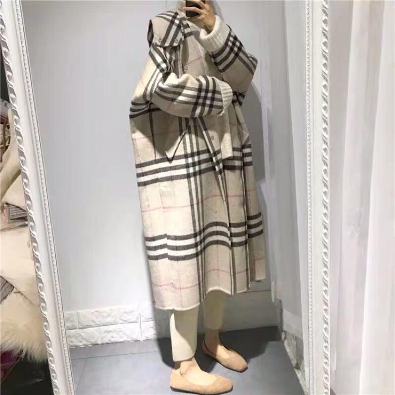 [ ohya梨花 ] =韓國帶回=最新秋冬新款性感質感名媛穿搭格紋連帽双面羊絨造型長大衣外套