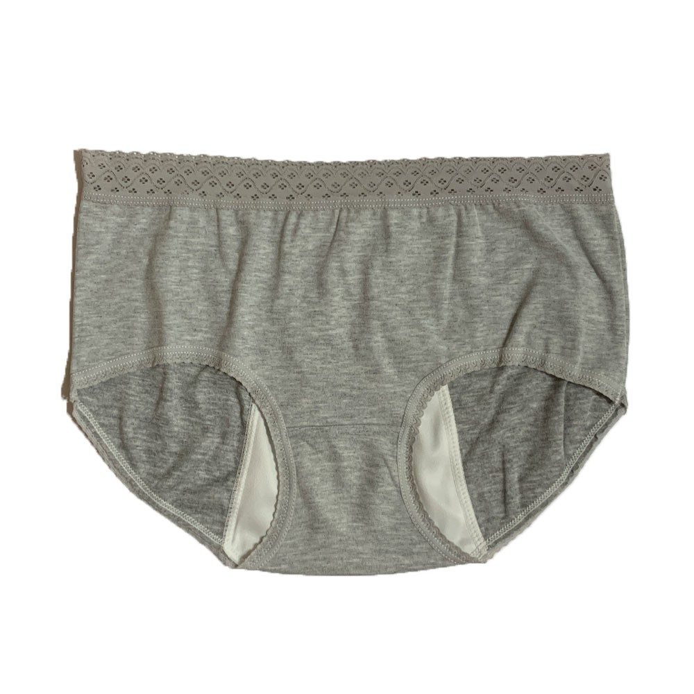 【MatchShop】台灣製素色長蕾絲中腰生理褲-深灰