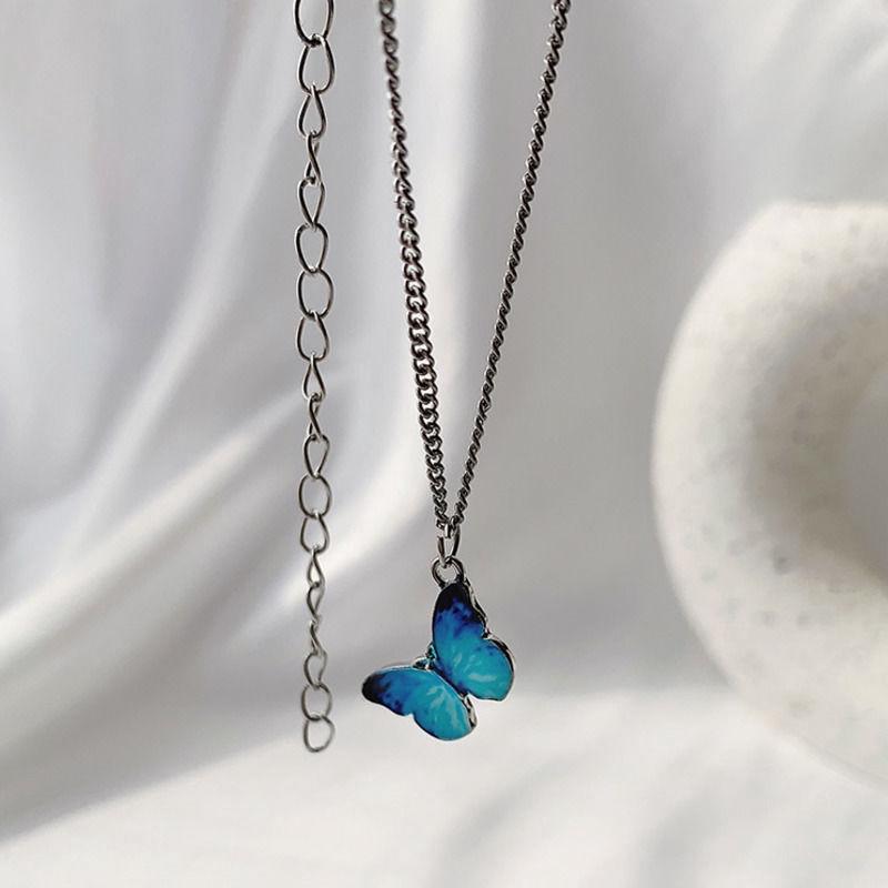 【免運】藍色森系蝴蝶項鍊女 28鎖骨鏈ins頸飾品小眾設計感