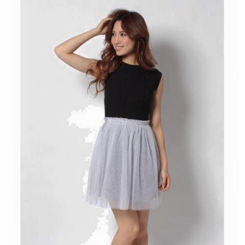 日牌rirandture無袖針織衫紗裙條紋拼接洋裝