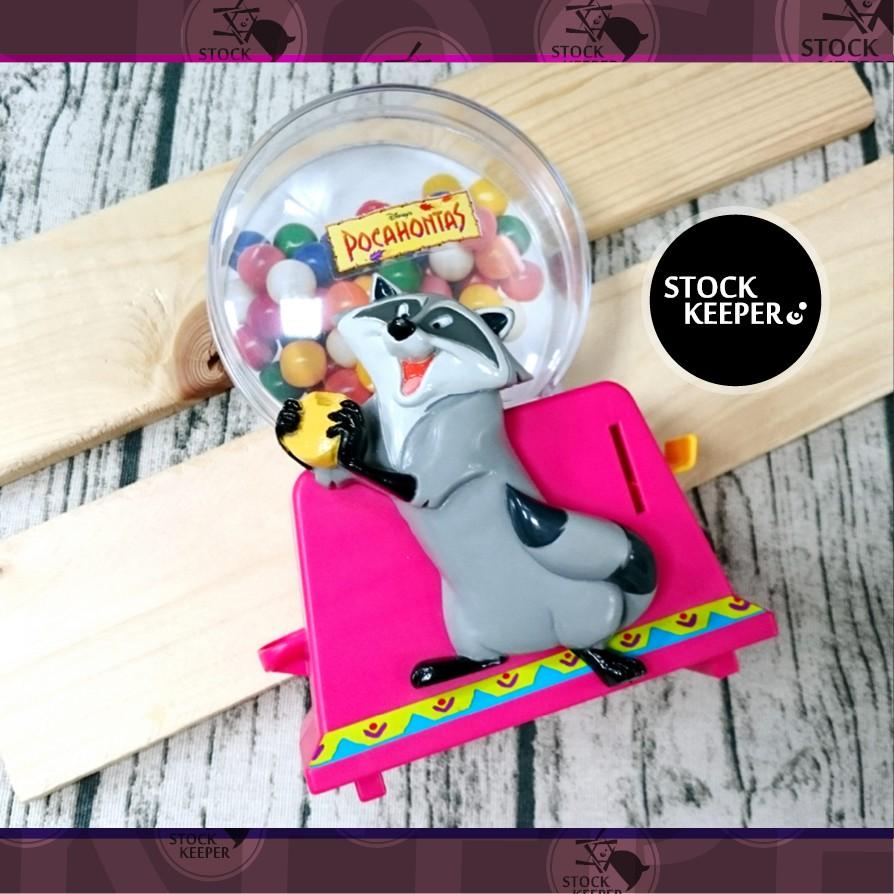 ◀倉庫掌門人▶迪士尼 風中奇緣 Pocahontas Meeko 小浣熊 米糕 糖果 扭蛋機 美系 老玩具 場景擺設