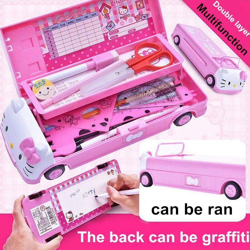 Hello Kitty兒童鉛筆盒卡通汽車造型學生文具盒筆袋