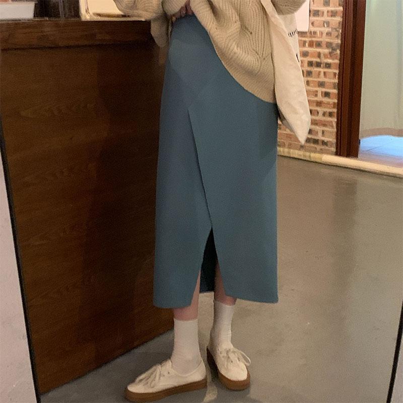 A字裙 新款韓版半身裙秋冬前开叉高腰顯瘦直筒裙