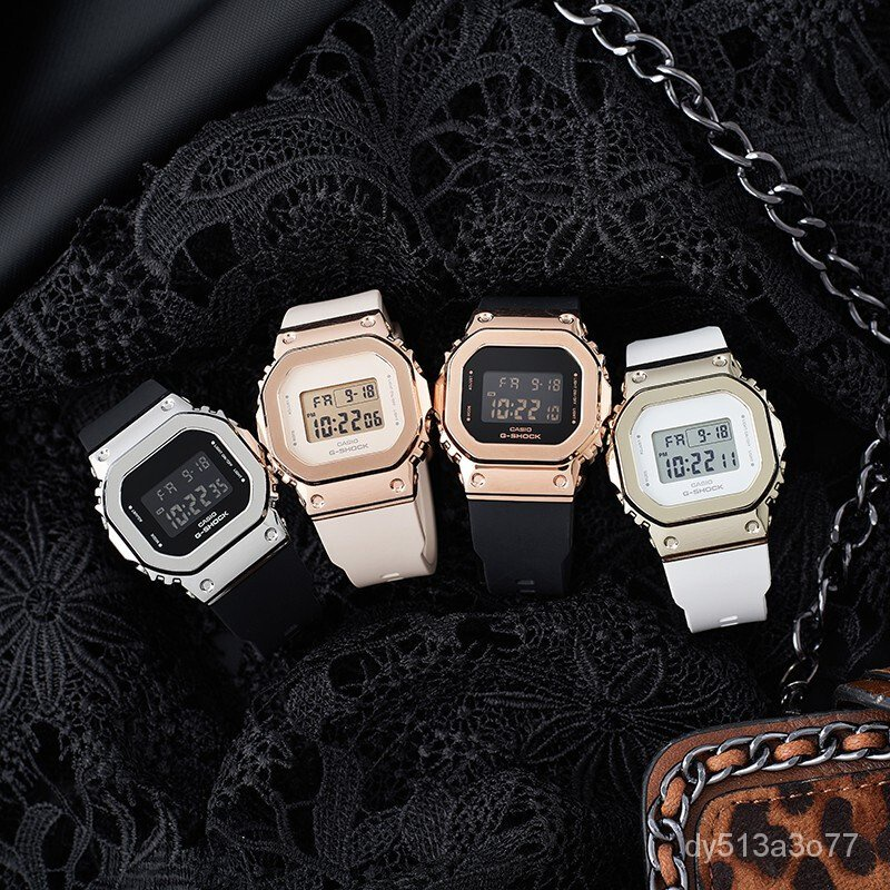0Yze 卡西歐CASIO小方塊女錶G-SHOCK潮流運動電子女士手錶GM-S5600PG-1新品速遞新品速遞