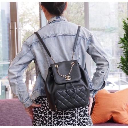 Chanel 香奈兒 A93748 Backpack 荔枝紋後背包 黑金鍊