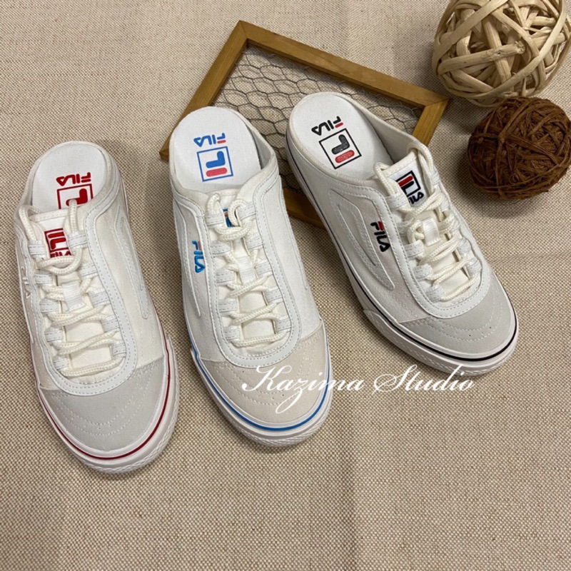 Kazima Fila Classic Boarder Mule 穆勒 穆勒鞋 懶人 懶人鞋 踩腳 米白 白色 小白鞋