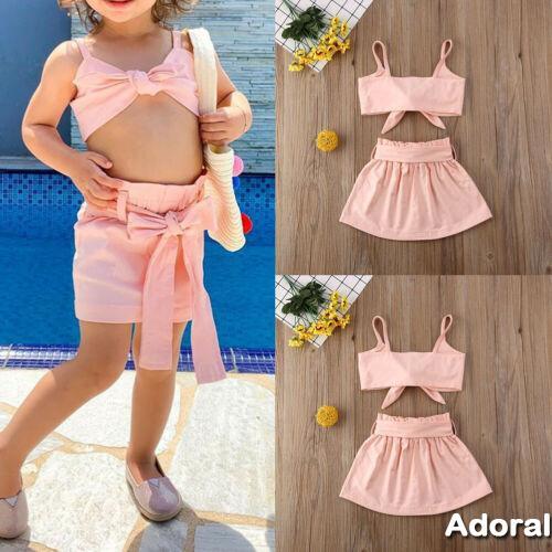 BA2Pcs蹣跚學步兒童嬰兒女童上衣+芭蕾舞短裙連衣裙裙套裝衣服套裝