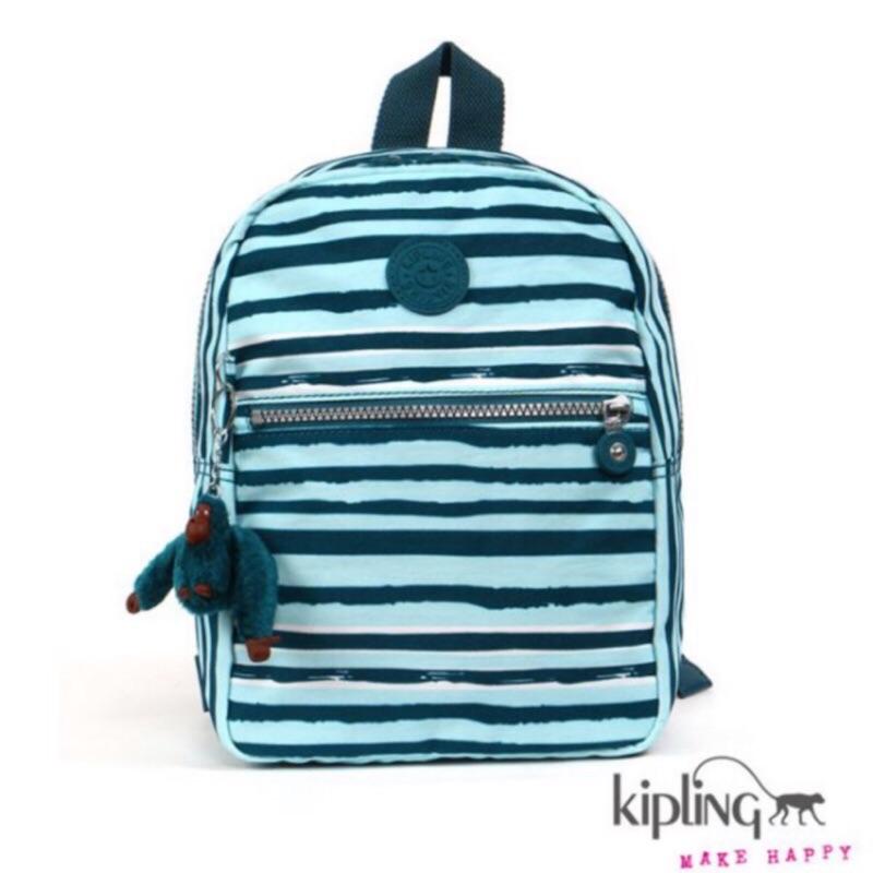 Kipling 淺天藍簡約條紋後背包-小