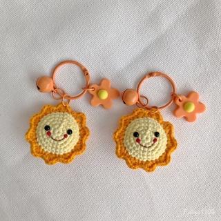 成品純手工毛線鉤織 網紅款可愛小清新 百搭小太陽包包掛件 鑰匙扣潮
