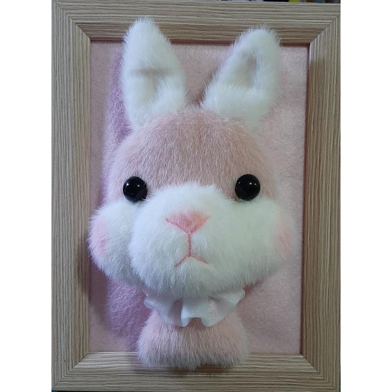 可愛的毛海手作兔兔相框擺飾