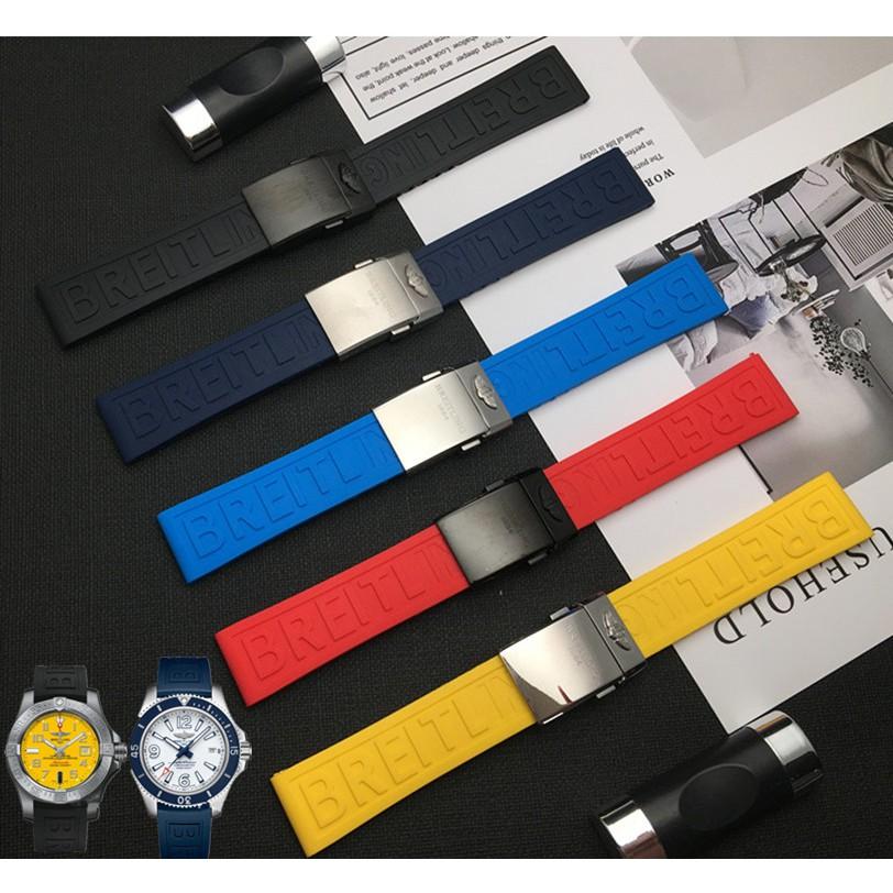 適配Breitling百年靈手錶帶矽膠橡膠20/22/24mm超級海洋黑鳥黃狼
