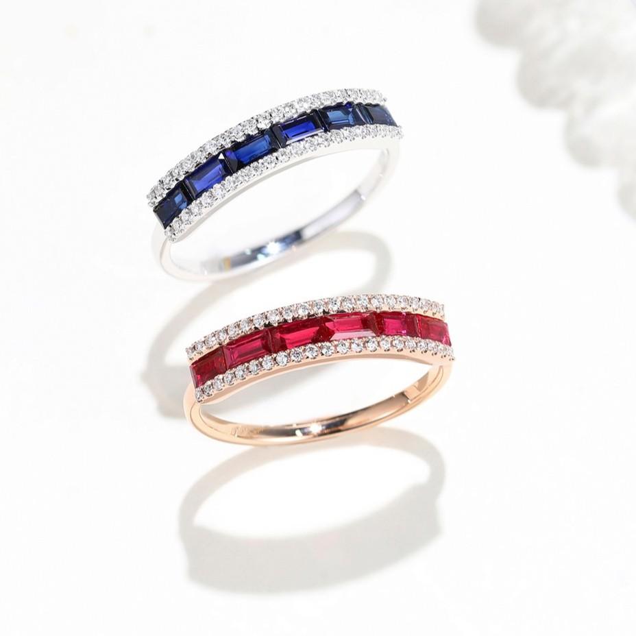 【巧品珠寶】18K 天然紅寶石/藍寶石 排鑲設計 戒指