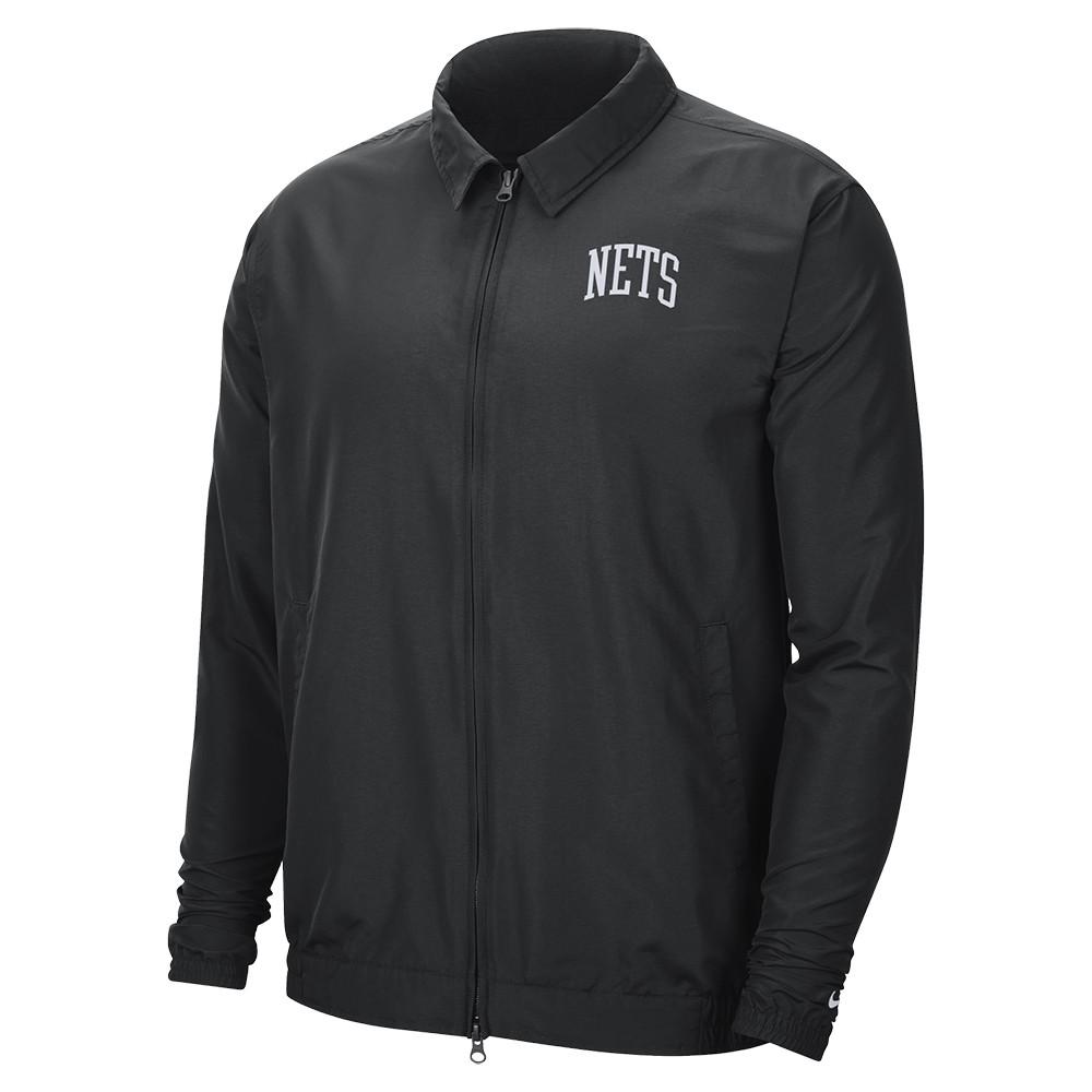 NIKE NBA 男裝 外套 風衣外套 防風 布魯克林 籃網隊 黑【運動世界】CN0748-010