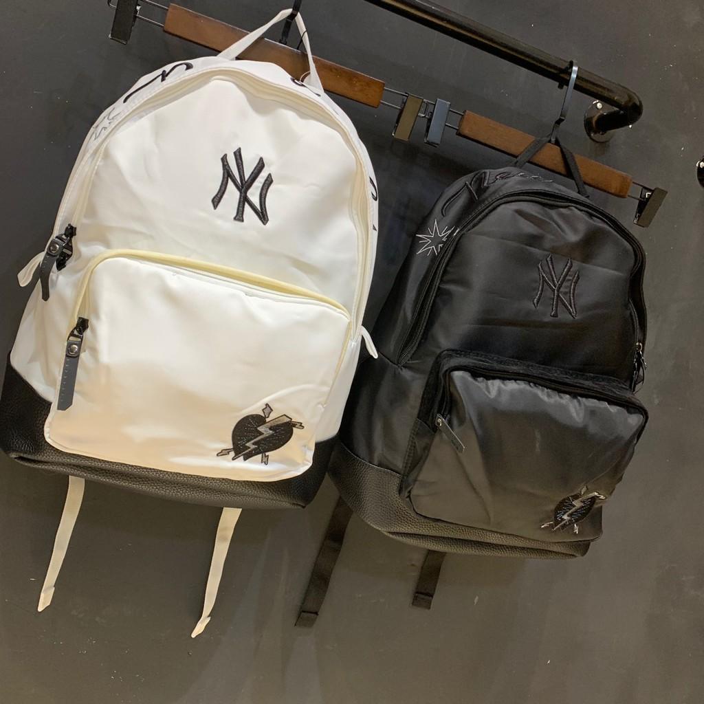 韓國MLB刺繡NY洋基隊時尚極品雙肩包 學生書包 男女情侶款戶外旅行運動包 電腦包 背包 休閒後背包 防水 帆布後背包
