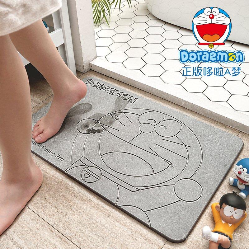 【浴室地毯】哆啦A夢硅藻泥吸水墊衛生間浴室防滑地墊廁所門口速乾硅藻土腳墊