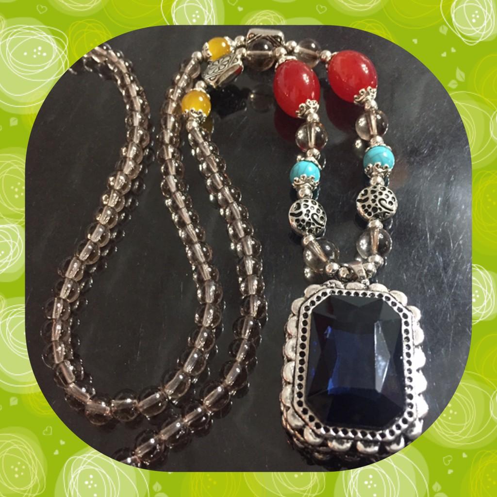 韓系歐系方塊藍水鑽長項鍊帥氣百搭流行時尚設計款76933