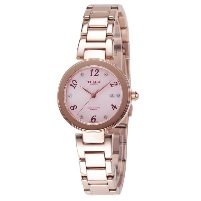 台灣品牌手錶腕錶【TELUX鐵力士】煥彩女神腕錶 30MM台灣製造石英錶7771GRG-PINK粉紅面玫瑰金鋼帶