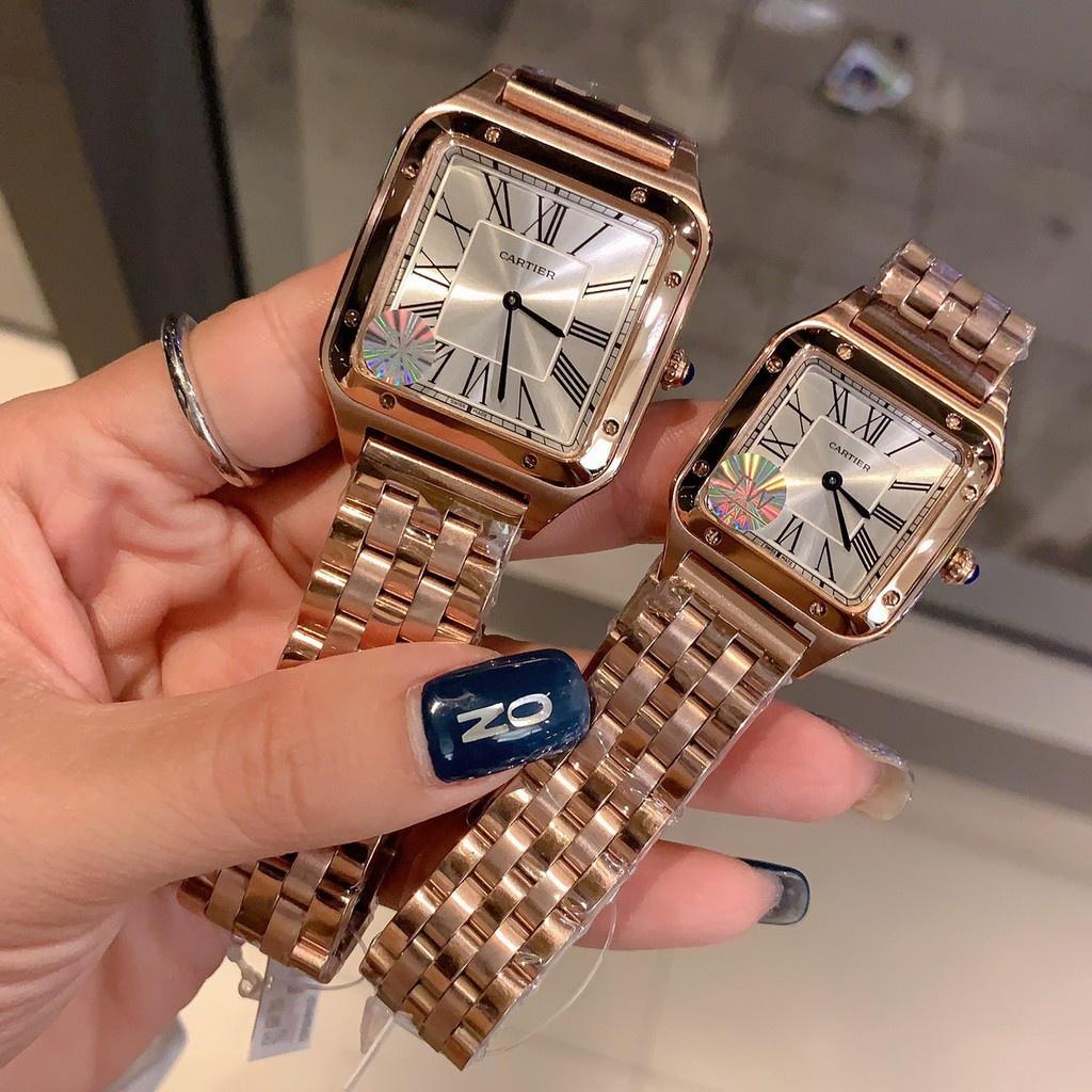 Cartier卡地亞山度士Santos-Dumont腕表 手錶石英女錶鋼帶 美洲豹腕錶 Cartier女款腕錶 時尚女性