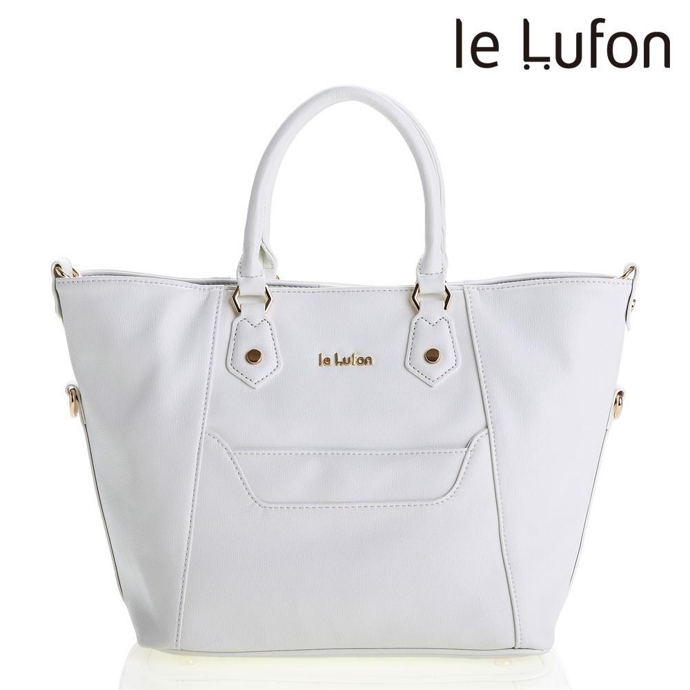 【le Lufon】 笑臉包 象牙白色十字紋革前口袋設計可敞開式蝙蝠版型(L)兩用手提包/肩背包/側背包/斜背包