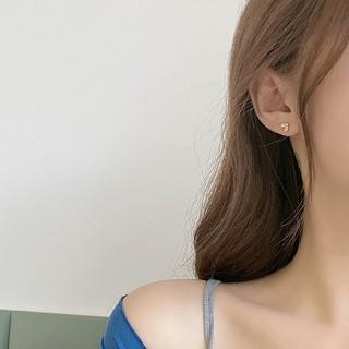【暮光自製】Han 韓國甜美S925銀針耳釘 簡約愛心形鑲鑽耳環 迷你耳飾
