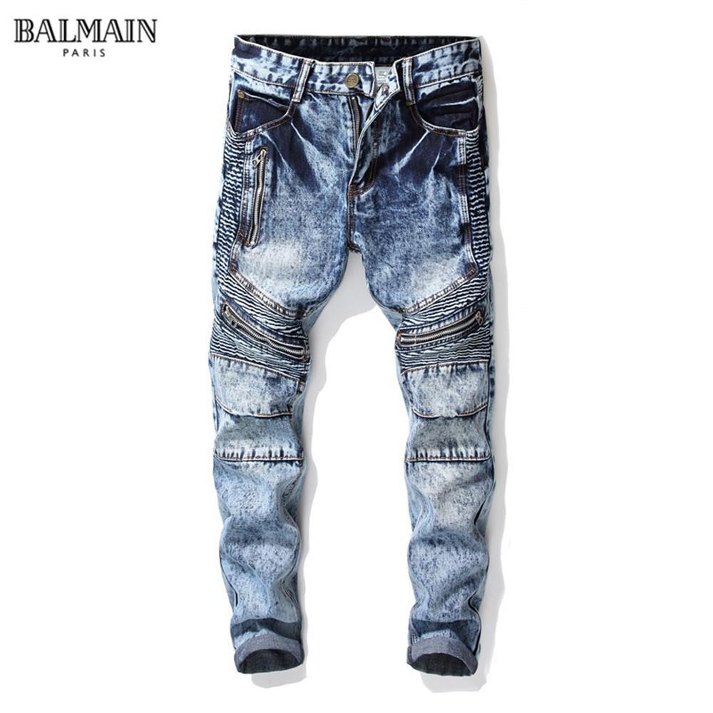 新款BALMAIN JEANS牛仔褲水洗修身小腳牛仔褲男破洞拼接拉鏈潮男褲子 巴爾曼修身牛仔褲
