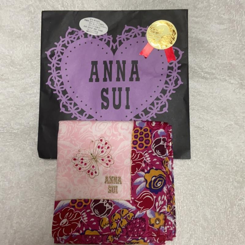 [現貨]日本ANNA SUI 安娜蘇 方巾 絲巾 造型用  刺繡
