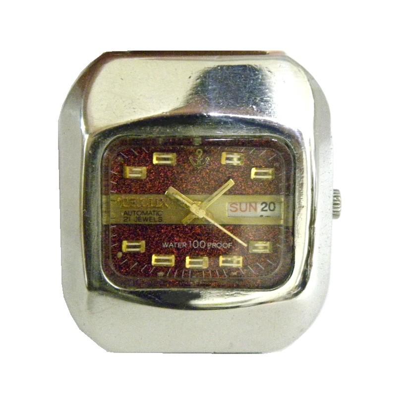 [專業模型] 機械錶 [TELUX 7168] 鐵力士 方型自動錶[金蔥面+星+日期][21石]中性錶/軍錶