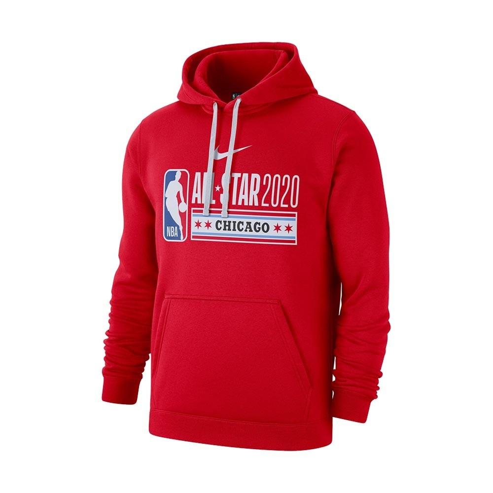 NIKE NBA 2020 男裝 長袖 刷毛 連帽 帽T 休閒 芝加哥明星賽 紅【運動世界】CI5447-657
