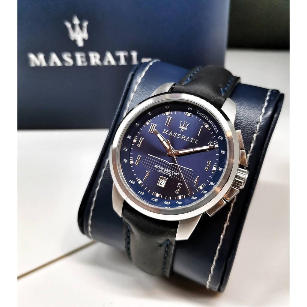 「現貨」瑪莎拉蒂 MASERATI 海神深藍款皮革腕錶