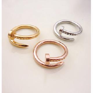 明星同款Cartier卡地亞釘子戒指 廠家批發手飾 鑲鑽情侶戒子開口