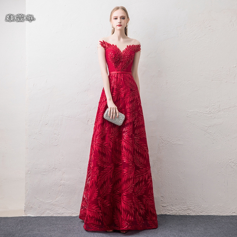 可訂製🔥酒紅色 一字領 新娘 敬酒服 畢業 禮服 裙 晚禮服 晚宴服 宴會服 長禮服 表演服 洋裝 大尺碼