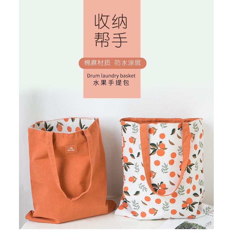 布藝雙面雙用手提包棉麻口袋手提袋購物袋收納包雜物袋