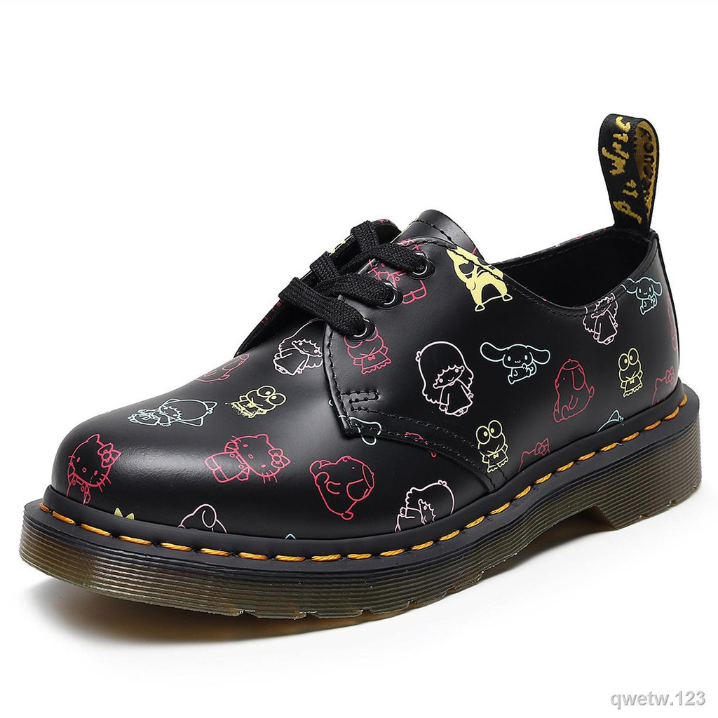 1461HelloKitty印花涂鴉鞋低幫真皮休閑可愛學生松糕短靴女馬丁靴