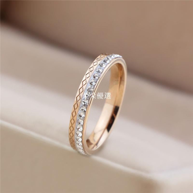 小確幸鉆石戒指女時尚個性ins潮冷淡風鈦鋼18k玫瑰金小眾設計食指