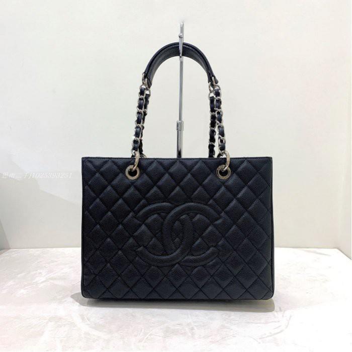 思雨二手 Chanel GST 黑色 菱格紋 荔枝皮 銀釦 小款