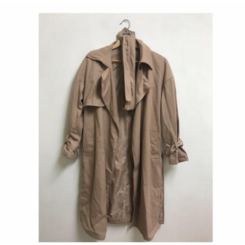 降價售近新重磅卡其韓版風衣外套原價$1480