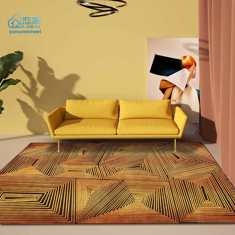 【戀家一慢生活家居】時尚後現代抽象金黃色幾何線條廚房客廳臥室床邊地毯地墊定製
