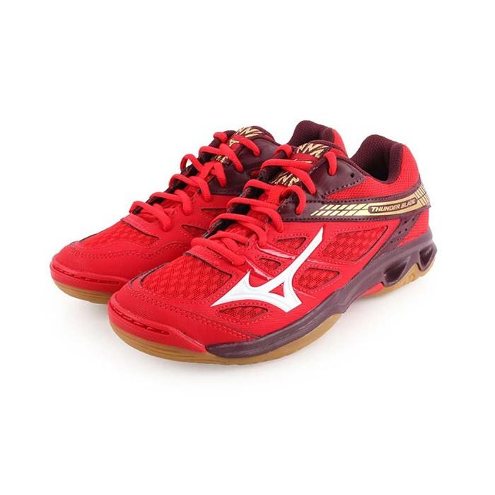 【美津濃MIZUNO】V1GA177063(黑灰X白X紅)THUNDER BLADE 女款排球鞋